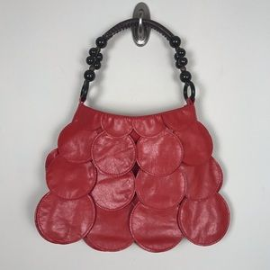 Vintage 60s Inspired Red Circle Faux Leather Bag